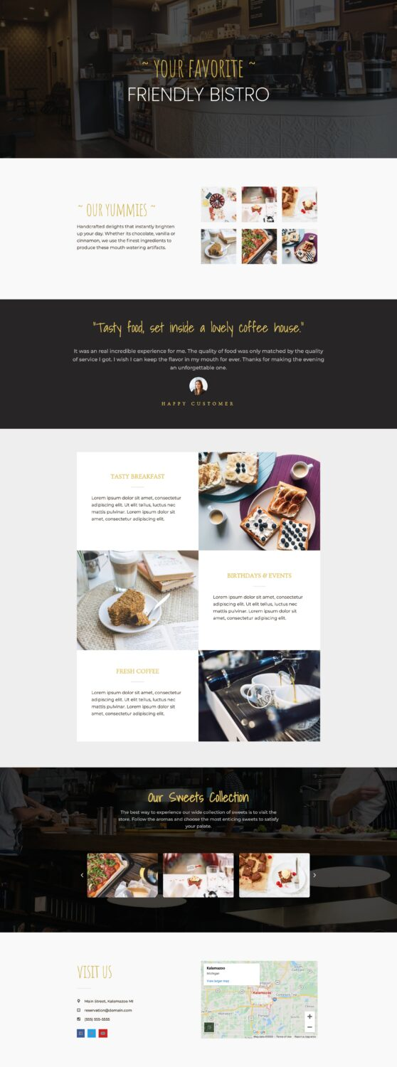1-page restaurant website