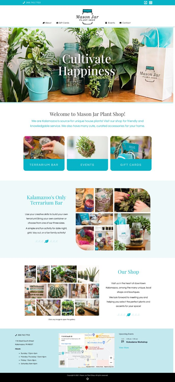 Mason Jar Plant Shop Website